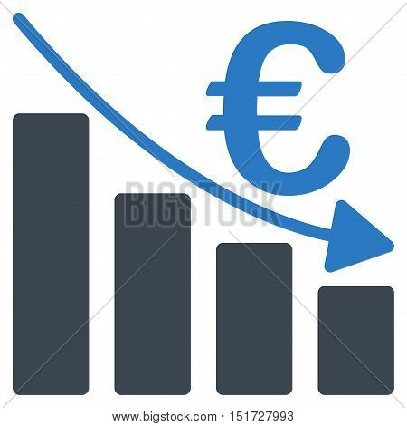 Euro Recession Bar Chart icon. Vector style is bicolor flat iconic symbol, smooth blue colors, white background.