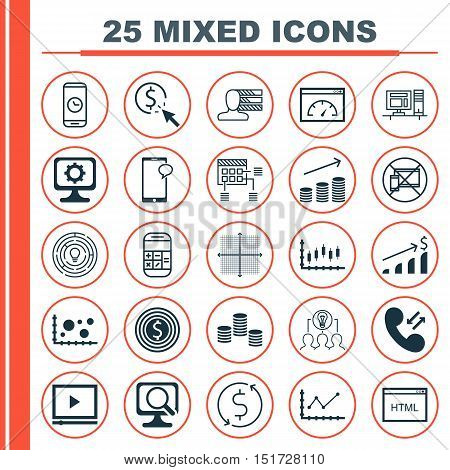 Set Of 25 Universal Icons On Collaborative Solution, Cellular Data, Coins Growth And More Topics. Ve