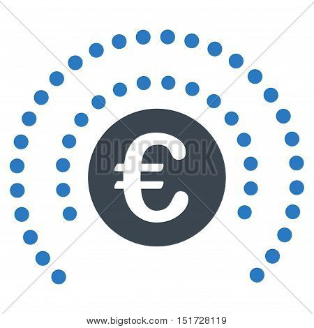 Euro Shield Sphere icon. Vector style is bicolor flat iconic symbol, smooth blue colors, white background.