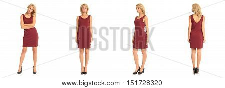 Beautiful Blonde Woman In Burgundy Dress Isolated On White