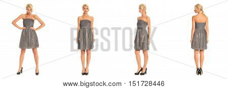 Beautiful Blonde Woman In Cocktail Dress Isolated On White