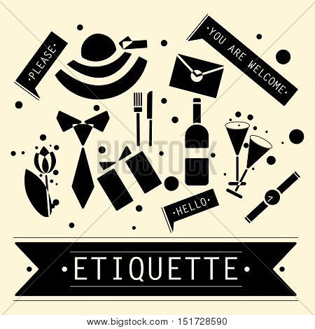 The elements of speech etiquette. Phrases in etiquette. Vector illustration.
