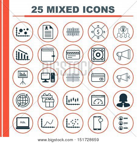 Set Of 25 Universal Icons On Digital Media, Presentation, Fail Graph And More Topics. Vector Icon Se