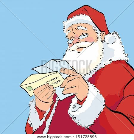 Santa Claus reading a Christmas letter, hand drawn line art illustration