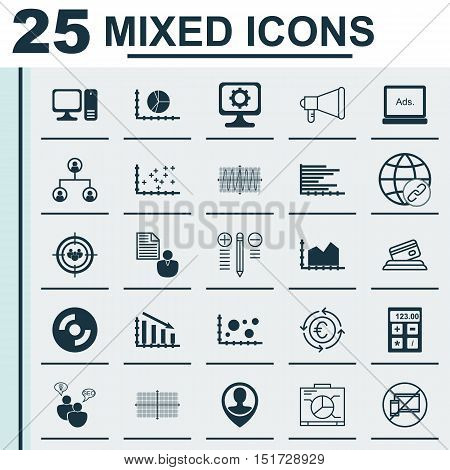 Set Of 25 Universal Icons On Blank Cd, Financial, Currency Recycle And More Topics. Vector Icon Set