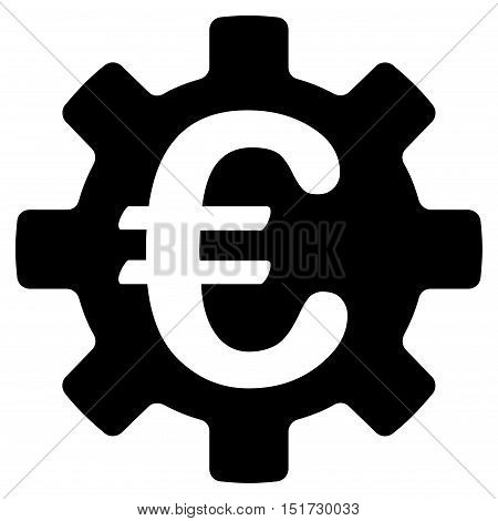 Euro Machinery Gear icon. Vector style is flat iconic symbol, black color, white background.