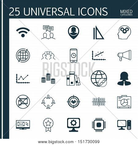 Set Of 25 Universal Icons On Board, Measurement, Pc And More Topics. Vector Icon Set Including Prese