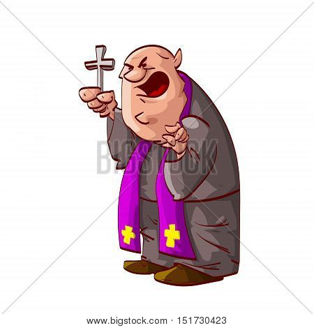 Colorful vector illustration of a angry cartoon catholic priest acting crazy.