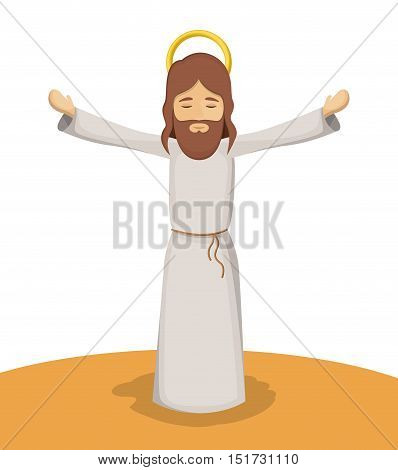Jesus god cartoon icon. Holy family and merry christmas season theme. Colorful design. Vector illustration