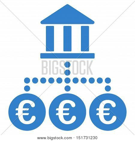 Euro Bank Transactions icon. Vector style is flat iconic symbol, cobalt color, white background.