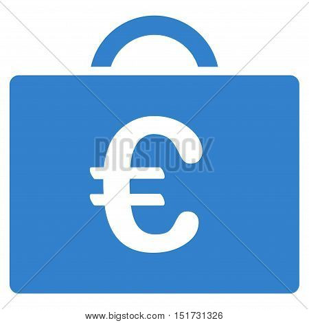 Euro Bookkeeping Case icon. Vector style is flat iconic symbol, cobalt color, white background.