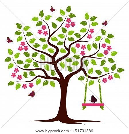 vector flowering tree with swing and butterflies isolated on white background