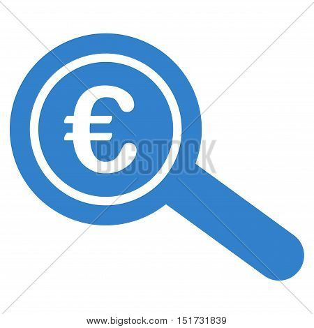 Euro Financial Audit icon. Vector style is flat iconic symbol, cobalt color, white background.