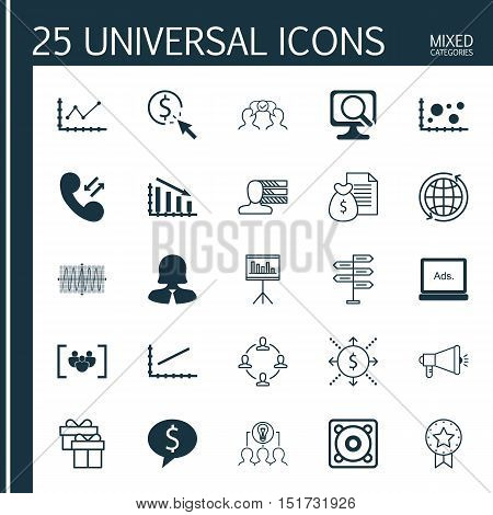 Set Of 25 Universal Icons On Cooperation, Presentation, Digital Media And More Topics. Vector Icon S