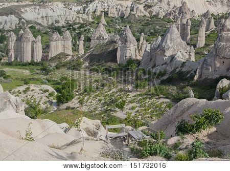 Limestone  valley in Turkey region Cappadocia during daytime