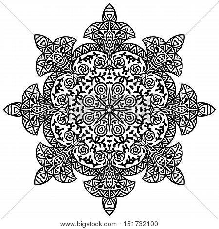 Indian ethnic round ornament. Mandala. Hand drawn henna tattoo decorative element.