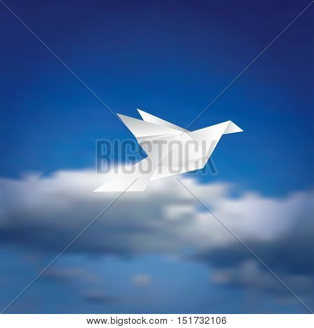 vector illustration with paper bird on cloudy sky, peaceful background