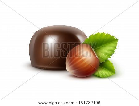 Vector Realistic Dark Black Bitter Chocolate Candy with Hazelnuts Close up Isolated on White Background