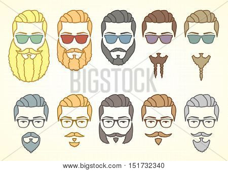 Vector illustration. Set of hipster face with mustaches and curly beards. Design elements for your stickers, card, posters, emblems, web design. Colored doodle