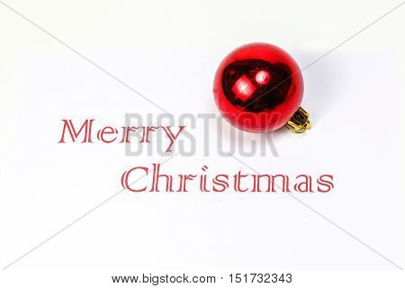 Merry Christmas with decoration ball ornament white space wishes season