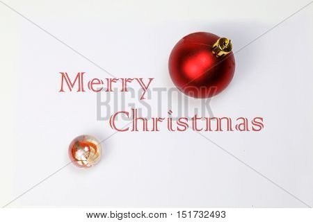 Merry Christmas with marble decoration ball ornament white space wishes season