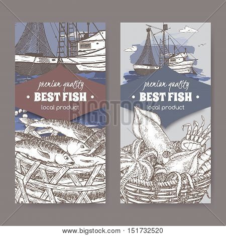 Set of two labels with color fishing boat with nets, fish and seafood basket. Great for markets, fishing, fish processing, canned fish, seafood product label design.