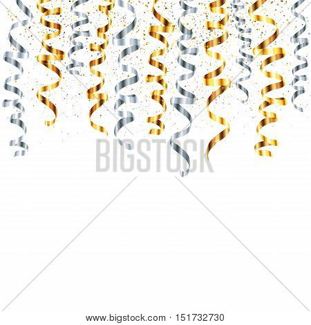 Vector silver and gold serpentine with metallic dust confetti isolated on white background