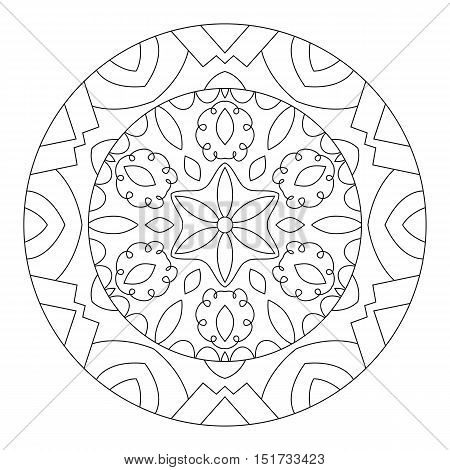 Eastern ethnic mandala. Round symmetrical pattern. Coloring book for adults.