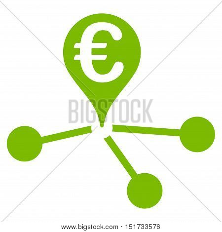 Euro Bank Branches icon. Vector style is flat iconic symbol, eco green color, white background.
