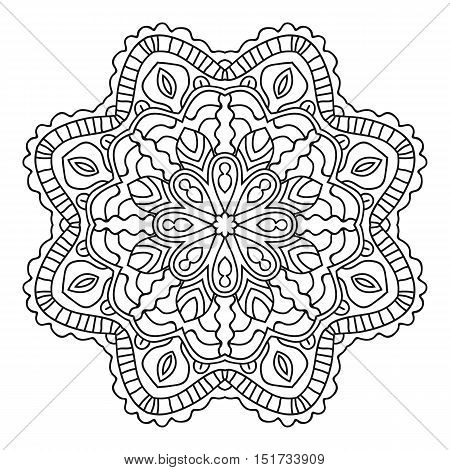 Vector mandala, India ornament. Ethnic symmetrical pattern on white background