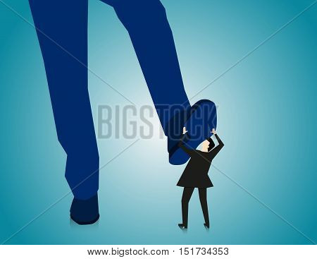 Manager Businessman Stepping On Employee. Concept Business Illustration. Vector Flat