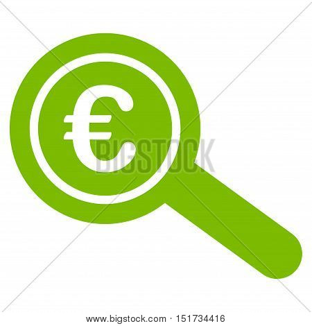 Euro Financial Audit icon. Vector style is flat iconic symbol, eco green color, white background.