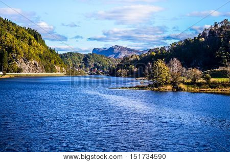 fjord lanscape in norway with blue sky