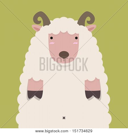 cute fat big brown horn sheep on green background