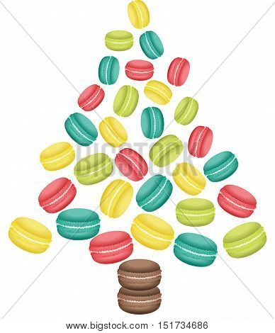 Scalable vectorial image representing a macaroon Christmas tree shaped, isolated on white.