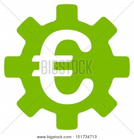 Euro Machinery Gear icon. Vector style is flat iconic symbol, eco green color, white background.