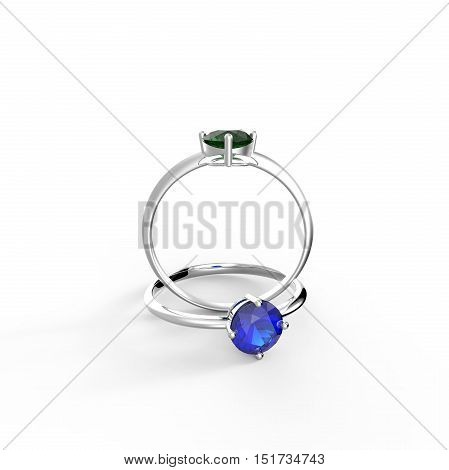 Diamond Rings on a white background. 3d digitally rendered illustration