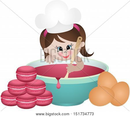 Scalable vectorial image representing a little girl baking macaroons, isolated on white.