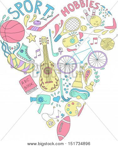 Hand drawn doodle set of hobbies and sport things. drawn in the shape of a heart.