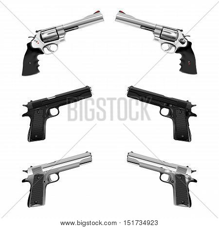Weapons pistol and a revolver. shown in different positions, isolated objects can be used with any image or text.