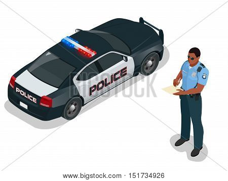 Isometric Police officer and police car with siren light blinking. Police officer in uniform. Modern police car. Policeman writing speeding ticket for a driver