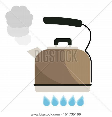 Kettle boils with water flat style vector illustration. Kitchen utensils stock illustration.