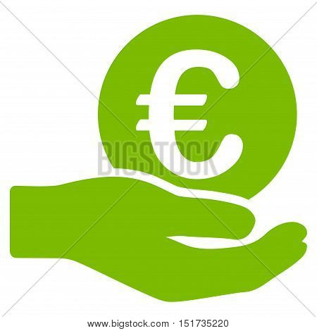 Euro Salary icon. Vector style is flat iconic symbol, eco green color, white background.