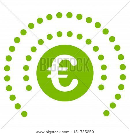Euro Shield Sphere icon. Vector style is flat iconic symbol, eco green color, white background.