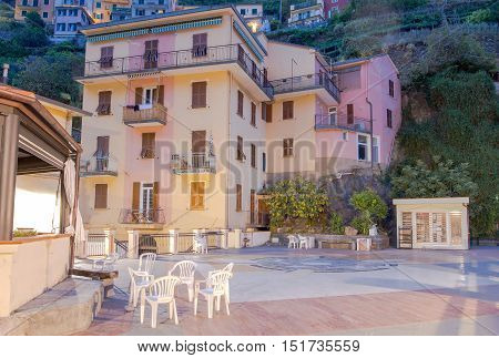 The central village square Motorola. The coast of Liguria. Manarola, Cinque Terre.