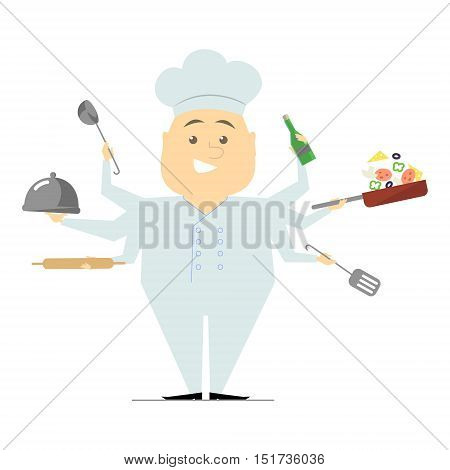 Multitasking chef with six hands standing on white background holding a frying pan with vegetables hot dish. The restaurant's chef. Vector