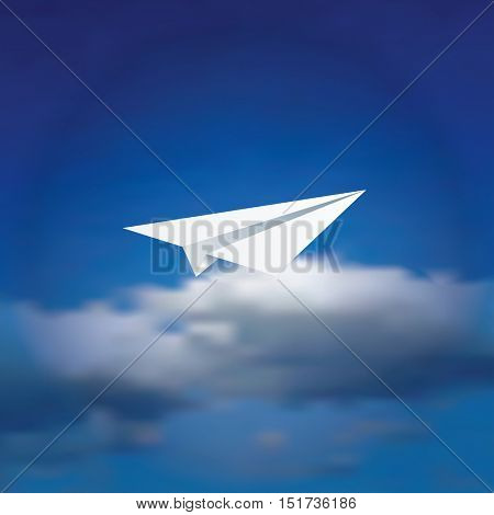 vector illustration of the paper plane over the cloudy sky, abstract background