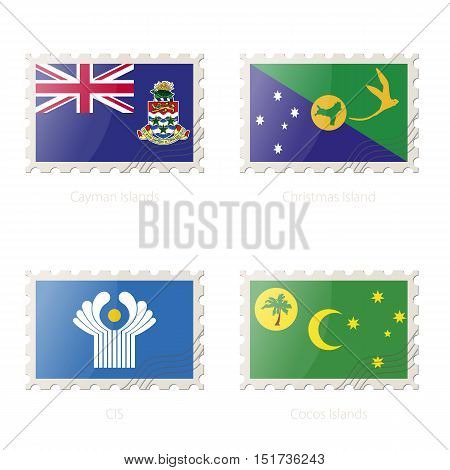 Postage Stamp With The Image Of Cayman Islands, Christmas Island, Cis, Cocos Islands Flag.