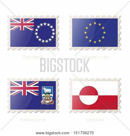 Postage Stamp With The Image Of Cook Islands, European Union, Falkland Islands, Greenland Flag.