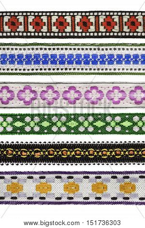 Set of colorful decorative ribbons on white background